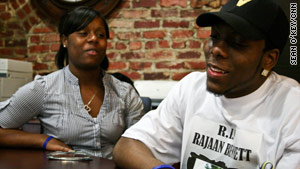Marissa Dean, left, and Demarius Matthews share memories of their friend Rajaan.