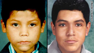 Jose Fuentes is shown as a child, and how he might look now, at age 23.