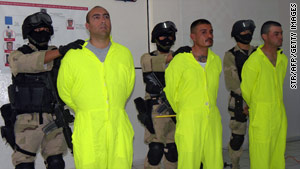 Heriberto Martinez (from left), Luis Alberto Camacho Ramos and Jesus Bustos Renteria were arrested.
