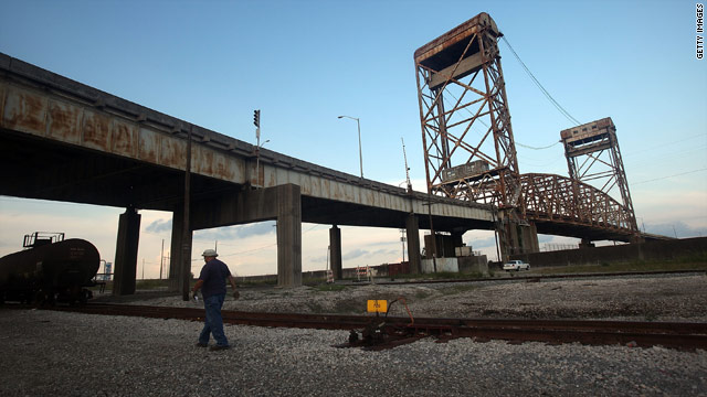The Danziger Bridge on U.S. 90 carries traffic across the Industrial Canal in New Orleans, Louisiana.