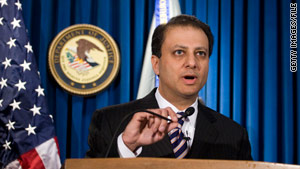 U.S. Attorney Preet Bharara announced the indictments of two men on terrorism charges Friday.