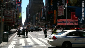 Investigators determined that a suspicious package in Times Square contained only water bottles.