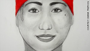 A composite sketch, based on Green's description, shows the young woman who took baby Raymond.