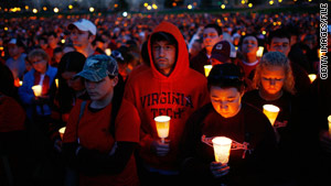 Virginia Tech students take part in a candlelight vigil after the 2007 shootings.