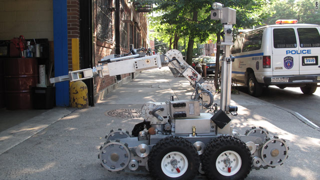 The New York Police Department bomb squad depends on robots to blow up suspicious packages and take photos.