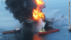U.S. Coast Guard fire boats battle the inferno on the Deepwater Horizon oil rig on April 21, a day after it exploded.