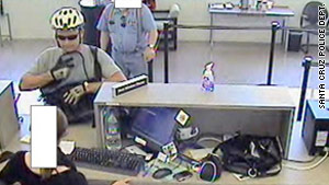 Police in Santa Cruz, California, have released this photograph of the bank robbery.