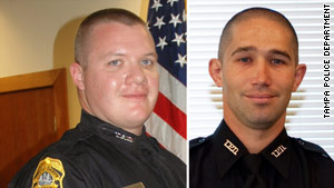 Officers David Curtis, left, and Jeffrey Kocab were both 31, according to the Tampa Police Department.