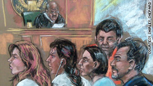 From left, Anna Chapman, Vicky Pelaez, Cynthia Murphy, Richard Murphy and  Juan Lazaro appear in court Monday.