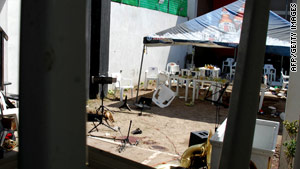 This is the garden where 17 people were killed during a party at the Quinta Italia in Torreon, Mexico, on July 18.