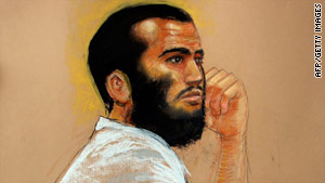 A sketch by courtroom artist Janet Hamlin shows Canadian defendant Omar Khadr on April 28.
