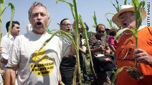 Voluntary Reaper Jose Bove, left, joins protesters in pulling up a genetically modified corn crop.