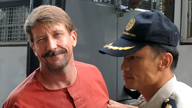 Alleged Russian arms dealer Viktor Bout arrives for a hearing at the Criminal Court in Bangkok on August 20.