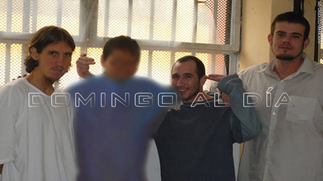 Joran van der Sloot (right) is shown posing in a Peruvian prison with two other suspects in high-profile killings: William Trickett Smith II (left) and Hugo Trujillo Ospina (third from left). The fourth person was not identified.