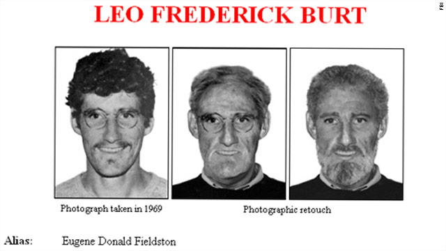 "An FBI ""Wanted"" flyer shows Burt in 1969, and as he might look now."