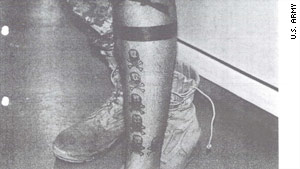 "This photo from the U.S. Army shows Sgt. Calvin Gibbs' tattoos that are suspected to represent his ""kills."""
