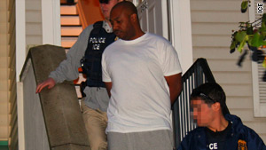 "Immigrations and Customs Enforcement agents arrest Kareem ""Biggs"" Burke as part of Operation Green Venom."