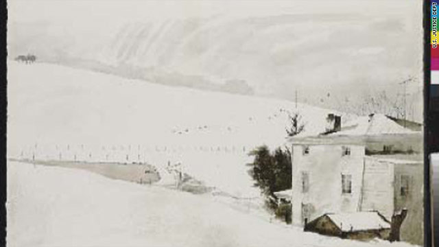"This is an image of the forged Andrew Wyeth watercolor ""Snow Birds."" Wyeth created the original in 1970."
