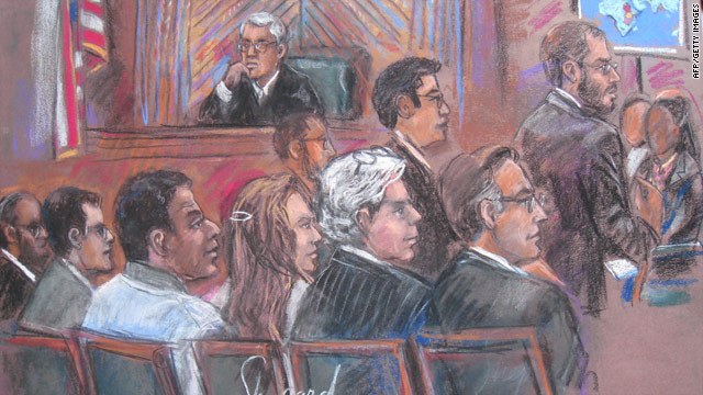 A court drawing dated October 12, 2010, showing Ahmed Khalfan Ghailani (third from left) at a civilian court in New York.