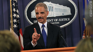 Attorney General Eric Holder announces a crackdown on websites selling Chinese-made counterfeit goods.