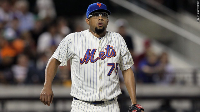 Francisco Rodriguez (shown during a game in August) must reimburse Carlos Pena for more than $14,000 in medical bills.