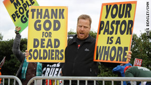 Members of Westboro Baptist Church protest in Arlington, Virginia, in October.