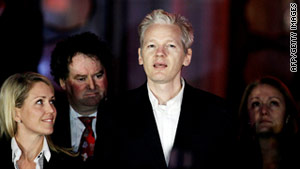 Julian Assange just after his release on bail in London, Thursday 16 December, 2010.