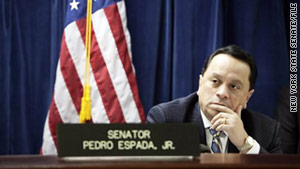 Outgoing New York state Sen. Pedro Espada Jr. and his son, Pedro, have been accused of embezzling $500,000.