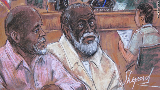 This courtroom drawing shows Abdul Kadir, left, and co-defendant Russell Defreitas in an August 2 court appearance.