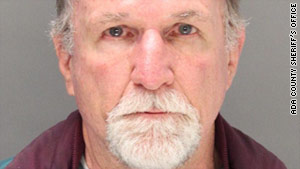 Russell Miller, 68, was arrested after the plane landed in Boise, Idaho.