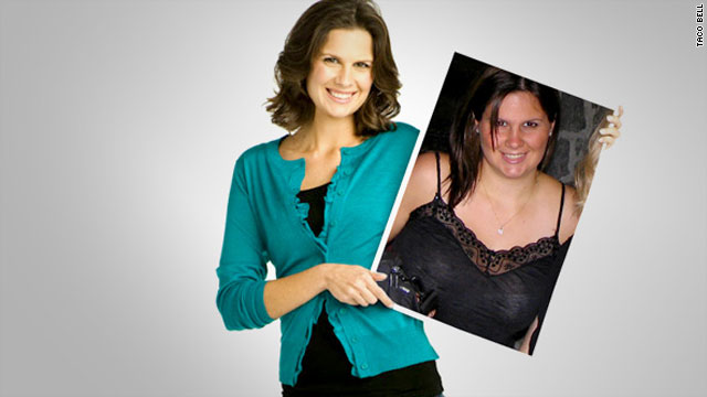 Christine Dougherty is the face of a Taco Bell ad campaign, flaunting her new figure after eating lower-calorie items.