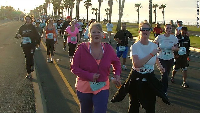 Spark friends Rebecca Coats and Eve Rasmussen run in the Surf City marathon in Huntington Beach, California, February 7.