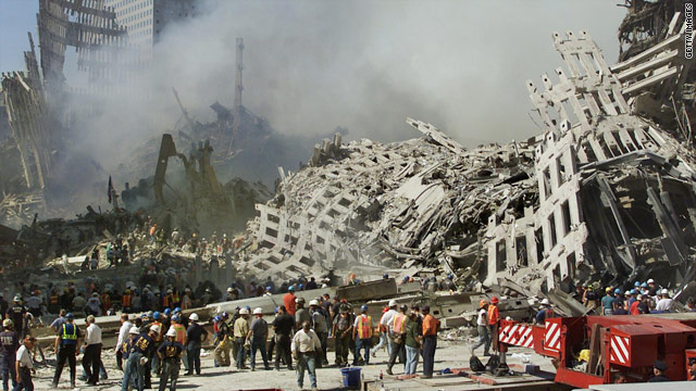 Rescue workers searched in the smokes from the rubble of the World Trade Center in September 2001.