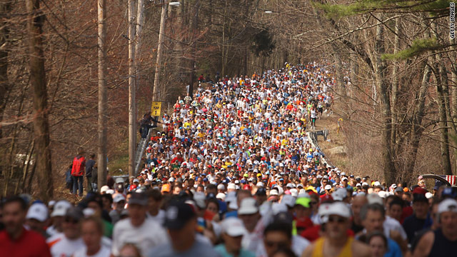 Thousands of runners jam the path of the 2008 Boston Marathon.