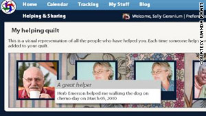 "Each HealthWeaver profile will have a ""helping quilt"" featuring everyone who has signed up to help."