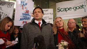 Dr. Andrew Wakefield, pictured here in January in central London, has been barred by the General Medical Council.