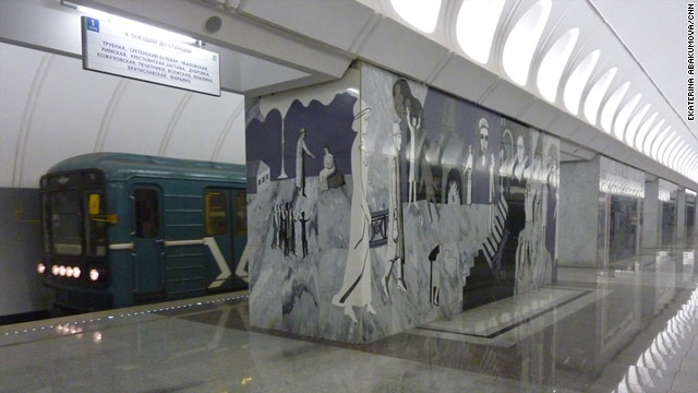 The Dostoevskaya metro station in Moscow has mosaics depicting scenes from Fyodor Dostoevsky's fiction.