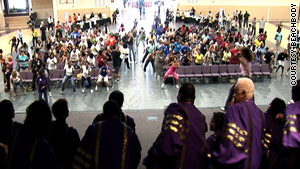 Joyner lead a fitness event in Atlanta, Georgia, accompanied by a gospel choir.