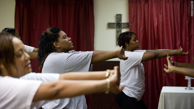 Women at a gospel aerobics class in Camp Springs, Maryland, blend praise and exercise.