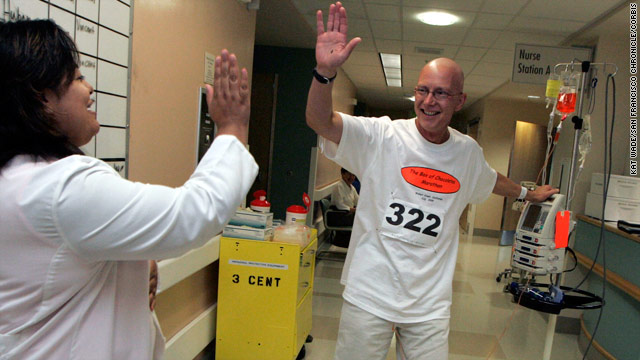 In 2005, cancer patient Brian Fugere did 144 laps around his hospital to raise money for sarcoma research.