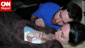 Erin Riley, her husband, Zach, and their newborn, Sullivan, bond after Riley gave birth.