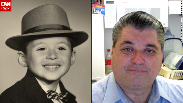 Mike Sarkany never liked having his picture taken again after being bullied as a child. On left: 1958; on right: 2010.