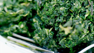 Spinach, along with other green vegetables and some grain products, contains folate.