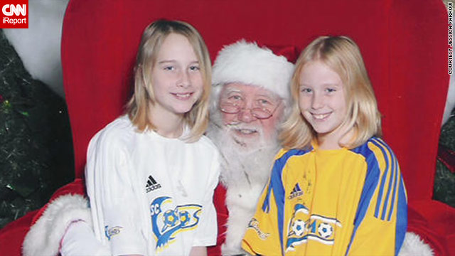 In the picture with Santa from 2009, Harmony and Lindsey Farrow took a photo with Santa in their soccer uniforms.