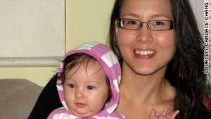 """I quickly learned that neither my baby nor I knew what we were doing,"" says Candace Chang, with daughter Talia."