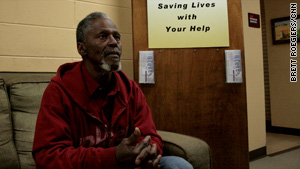 Sherman Vickers, 63, prefers sleeping in parks on a foam mat but takes advantage of shelter when it gets too cold.