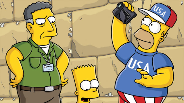 "At the Wailing Wall in Israel, Homer suffers from Jerusalem syndrome and thinks he is the ""chosen one."""
