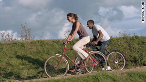Riding bikes on a date instead of driving helps the environment, says author Stefanie Iris Weiss.