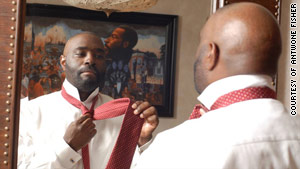 Antwone Fisher says his foster father always wore ties but never taught him how to tie one.