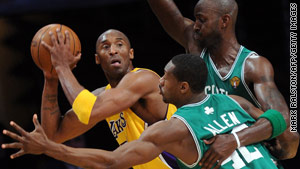 Kobe Bryant led the Los Angeles Lakers to a win in Thursday's NBA Finals game. Game two is Sunday.